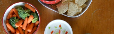 Vegetables and chips take a delicious dip