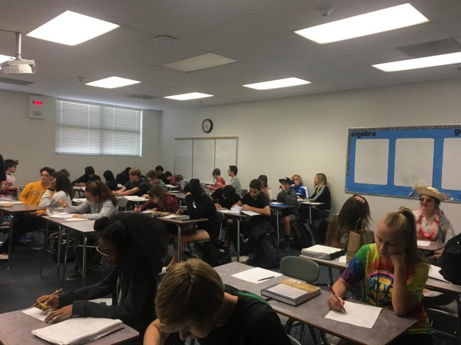 Students are studying hard for their quiz in Mr. Hillier's class