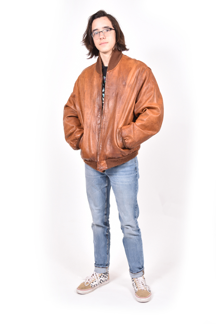 There are many different ways to style leather, Blake Dorame a senior, shows off his favorite style. Brown is a popular color because it fits well with light wash jeans and any type of shoes.