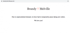 Many stores, such as Brandy Melville have temporarily stopped all orders because of the unprecedented and very high online demand.