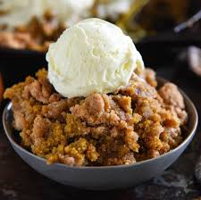 Add some ice cream to the pumpkin pie crisp for extra goodness.