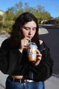 Judy Silva, a sophomore, enjoys one of Starbucks drinks, the Caramel Cookie Bar Frappuccino from their secret menu.